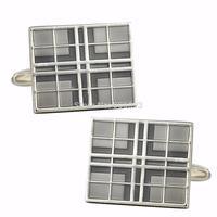 Mens Classic New Silver Plated Enamel Windows Square Crossed Formal Business Wedding Cufflink CKB105