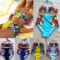 2015 Newest Retro Vintage Sexy High Waist Bikini brazilian Women Lady Girl's Bandage Swimsuit Push Up Bikinis Sets Swimwear