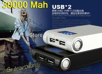 1pcs Free shiping Power Bank LCD 30000mAh Dual USB Charger Battery External Battery Charger Powerbank