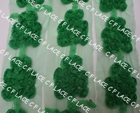 Free ePacket/CPAP 10y/110pcs 6.5x5cm chiffon shamrocks for St. Patricks day Chiffon Rosette Clover Trefoil,Hair Accessories