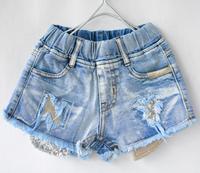2015 summer children's clothing wholesale baby Hole sequin shorts girls jeans denim kd shorts kids new fashion kids designer