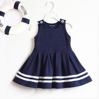 2015 summer casual navy blue toddler baby girl sundresses cotton sleeveless dress 12M,18M,24M,2T,3T
