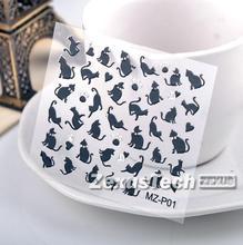 One Sheet Black Cat Cartoon Element Foil Nail Sticker Gel Nail Stickers Gel Nail Supplies