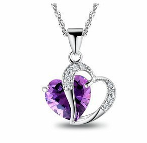 New! silver jewelry Crystal Purple Heart Necklace Pendants Chains silver Necklace bisuteria women collares mujer(China (Mainland))