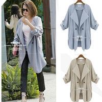 Autumn European style women Coats Slim thin sunscreen Windbreaker Jackets Long-sleeved cotton female Outerwear
