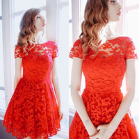 New Fashion Women Slim Red Crochet Lace Bandage Casual Dress Party dress Evening Dress Ball Gown