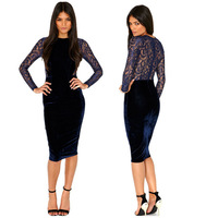 2015 New Fashion Women Winter Sexy Dress Long Sleeve Blue Velvet Lace Dresses Patchwork Slim Bodycon Bandage Dress PA853018