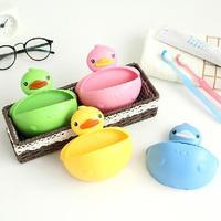 Lovely Cute Bathroom Duck Soap Dishes Plastic Firm Soap Holder Box Case Shower Organizer Box Soap Dispenser
