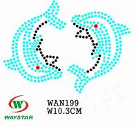 Free ship!30pc!Dolphin design hotfix rhinestone transfer custom DIY motifs rhinestones WAN199