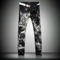 Black Skinny Jeans Men Fashion Wolf 3D Print Winter Warm Animal Painted Stretch Denim Jeans Men Slim Fit Jeans Pants Trousers