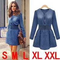 fashion slim denim one-piece dress autumn women's a-line dress