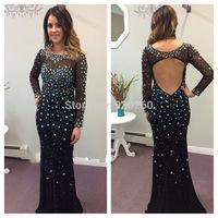 Latest dress designs Sexy long Black crystal Mermaid Evening Dress vestidos de fiesta 2015 elegant heavy beaded  prom dress