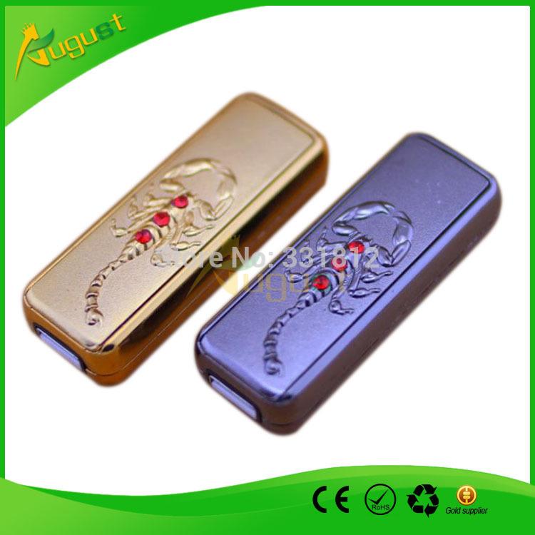 10pcs lot Windproof Electric Lighter Scorpion Smocking Set Cigarette Cigar Flameless Lighter Electronic USB