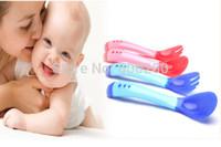 Hot sales 2015 New Safety Temperature Sensing Spoon Baby Flatware Feeding Spoon