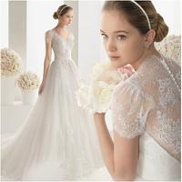 French Lace Wedding Dresses 2015 Vintage A-Line Princess Casamento Chiffon Plus Size White Wedding Robe De Mariage