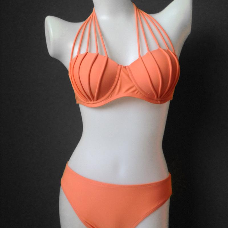 2015 bikini swimwear push up hot styleblack white orange bathing suit gift tight sexy gift fashion cool(China (Mainland))