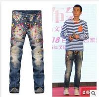 New DSQ Men's Slim Straight Jeans Men's Senior lacquered D2 high-quality casual men's pants