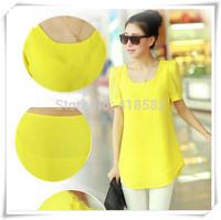 Y064--2015 summer new women burst models loose big yards loose short-sleeved chiffon blouse Puff