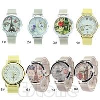 Free Shipping Stylish Stainless Steel Mesh Quartz Round Dial Wrist Watch Fashion Women Gift
