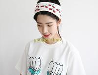 Fanshou Free Shipping 2015 Women Headband Autumn Winter Knitted Headwear Casual Hair Accessories Cherry Printed Hair Band