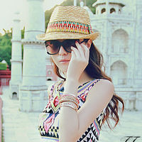 Natural Wheat Straw Material jazz hat fedoras straw hat summer female beach cap fedoras