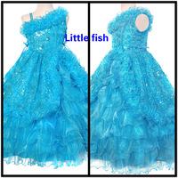 Free shipping Girls long formal dresses Pageant dresses for girls glitz 2-11 age