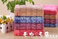 pure cotton facecloth think Promotion face towel 34*74cm 100g  letter soft Water absorption facetowel 4pcs/lot