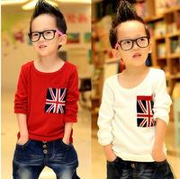 Hot Spring Korean children 2-6 years old boys flag pocket long sleeve T-shirt children bottoming shirt free shipping