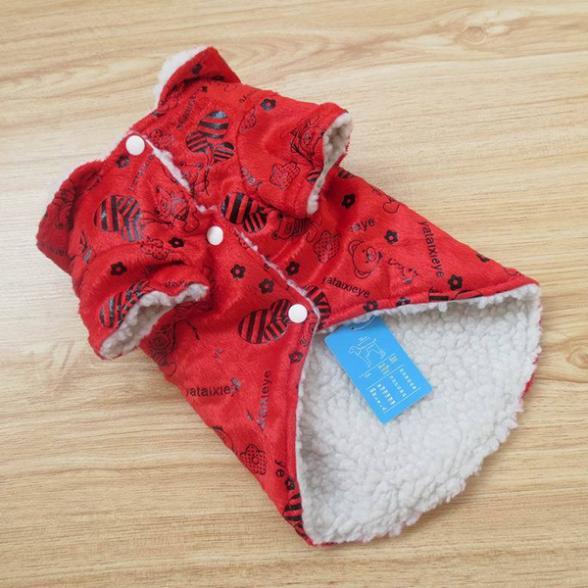 Novo estilo Hoodie Red velo camisola do gato do cão de filhote Pet roupas de inverno vestuário do revestimento do revestimento(China (Mainland))