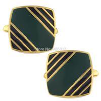 Mens Classic New Golden Plated Enamel Green Stripe Square Formal Business Wedding Cufflinks CKB104
