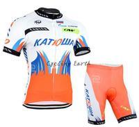 New arrive! KATUSHA 2015 #1 short sleeve cycling jersey bib shorts set bicycle wear clothes jersey pants,gel pad,free shipping!