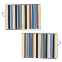 Mens Classic New Sliver Enamel Colorful Blue Stripe Square Formal Business Wedding Cufflinks CKB102