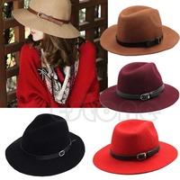 Free Shipping Fashion Design Women Warm Winter Wool Belt Fedora Cap Wide Brim Cowboy Hat New
