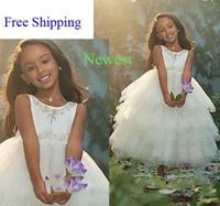 66 2015 bead layers ball gown flower girl dresses for weddings girls pageant dresses prom dress children vestido de daminha 2015