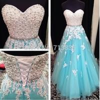 Actual Image Pearl Prom Dresses Gowns 2015 Light Blue Long Evening Women Summer Dress A Line Vestido De Festa Abendkleider