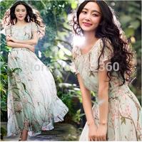 New fashion spring and summer chiffon one-piece dress sweetmopping the floor dress full beach dress female flower dress