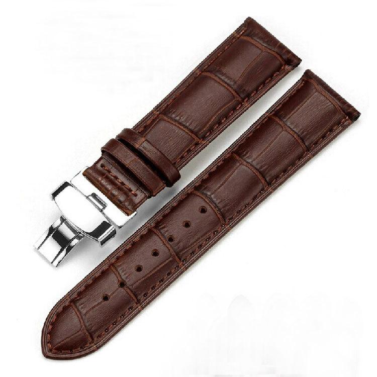 Новое поступление высокое качество коричневый 18 мм 20 мм 22 мм 24 мм мягкий Sweatband из натуральной кожи ремешок сталь пряжка наручные часы группа
