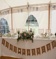 370CM rustic hessian burlap wedding bunting Just Married banner/Wedding garland Wedding Photo Prop Bunting- free shipping