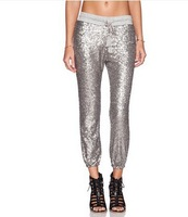 Fashion spring and summer bling silver paillette casual women's ankle length trousers XS-2XL
