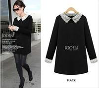 2014 new arrival women dress  lace turn down collar women blouse long sleeve chiffon shirt