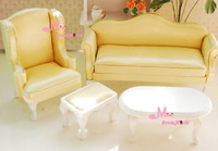 1:12 Dollhouse Miniature Furniture Small Queen Anne Living Room 4pc Yellow Toy Gift for girls