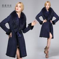 free shipping EMS fur female genuine leather sheepskin fur one piece outerwear design long overcoat
