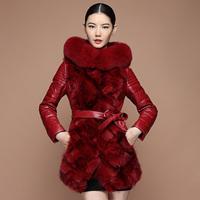 free shipping EMS  2014 fur one piece fox fur female medium-long genuine leather fur hooded down coat