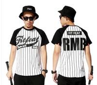 Men Sport Stripe Baseball T-Shirt Westcoast Hip hop Short Sleeve T Shirt Tee Last King