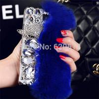 Rabbit hair fox head rhinestone mobile phone cover for Samsung Galaxy Note3 N9000
