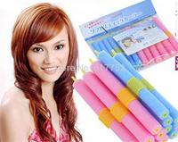 Promotion 12pcs Sponge DIY Sleeping Hair Curlers Soft Hair Sticks Curly Hair Styling Tools, DIY Make-up Hair tools Free Shipping