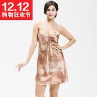2015 women's sexy nightshirt deep V-neck spaghetti strap faux silk nightgown sleepwear