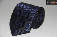 Men Navy Blue pulling flowers Checks Neck tie Set / Neckties + Hanky Cufflinks Handkerchief Set