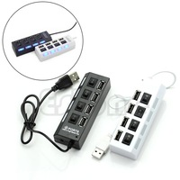 Free Shipping External Multi Hub Expansion 4 Ports USB 2.0 On/Off Switch LED 480 Mbps Splitter