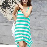 2015 Wholesale and Retail Women Summer Dresses Girl Casual Stripe Irregular Beach Dress Sleeveless Sexy Sundress black green red